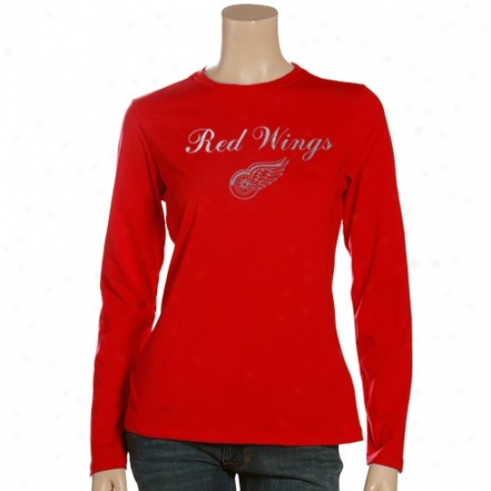 Detroit Red Wings T Shirt : Detroit Red Wings Ladies Red High Score Long Sleeve T Snirt
