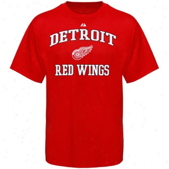 Detroit Red Wings T-shirt : Majestic Detroit Red Wings Red Heart & Soul T-shirt