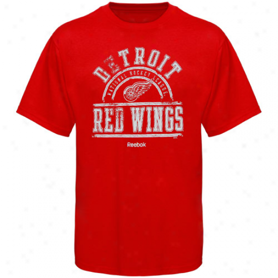 Detroit Red Wings T-shirt : Reebok Detroit Red Wings Red Hockey School T-shirt