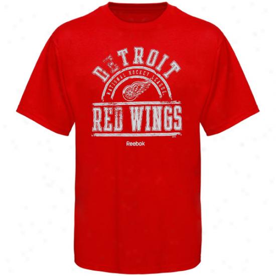 Detroit Red Wings T-shirt : Reebok Detroit Red Wings Red Hockey School T-shirt