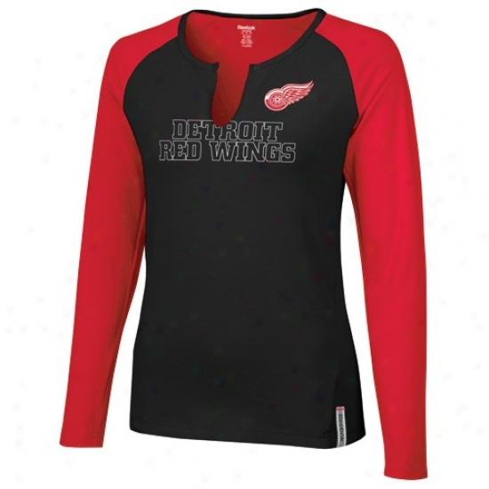 Detroit Red Wlngs T-shirt : Reebok Detroit Red Wings Ladies Bpack-red High Pitch Long Sleeve Premium T-shirt