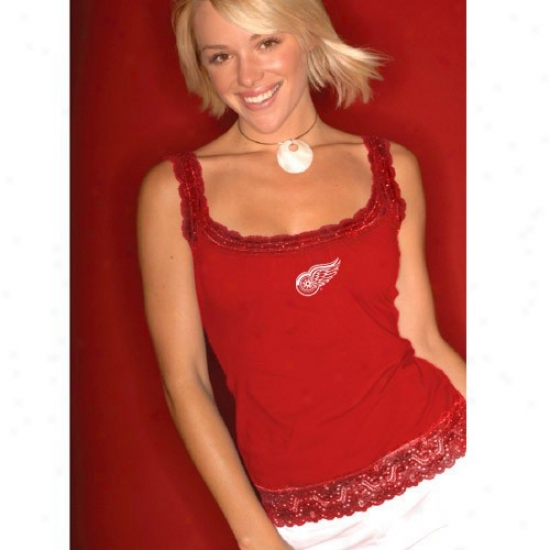 Detroit Red Wings T Shirt : Tocuh By Alyssa Milano Detroit Red Wings Ladies Red Lacy Tank Top
