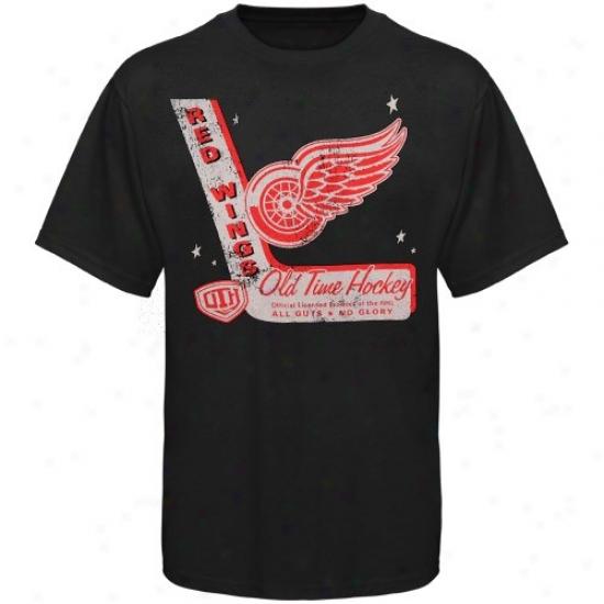 Detroit Red Wings Tees : Old Time Hockey Detroit Red Wings Black Lumber Tees