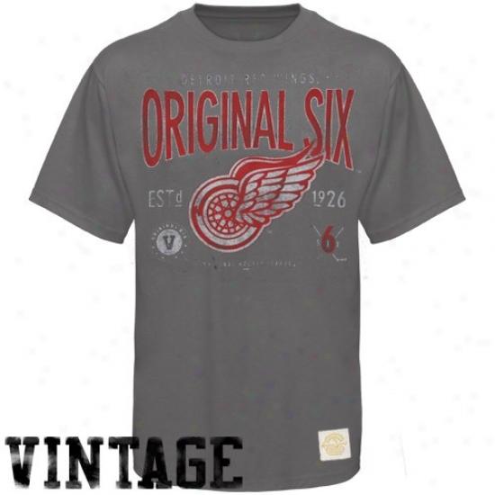 Detroit Red Wings Tees : Reebok Detroit Red Wings Charcoal Big Original Six Super Soft Vintage Tees