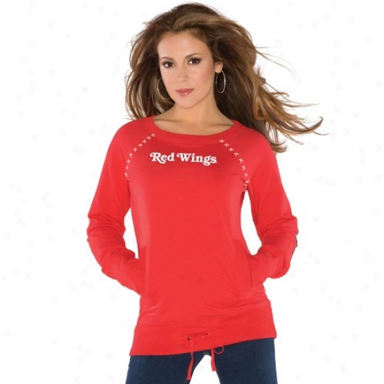Detroit Red Wings Tees : Touch By Alyssa Milano Detroit Red Wings Red Organic Pullover Sweatshirt