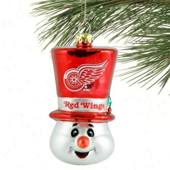 Detroit Red Wings Top Hat Snowman Blown Glass Ornament
