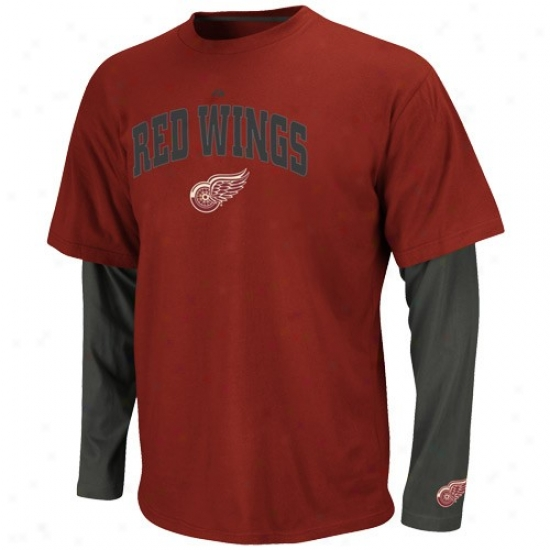 Detroit Red Wimgs Tshirt : Majestic Detroit Red Wings Red-charcoal Official Scorer Double Layer Premium Tshirt