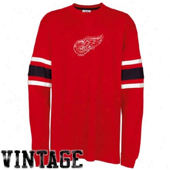 Detroit Red Wings Tshirt : Majestic Detroit Red Wings Red End Line Long Sleeve Vintage Tshirt
