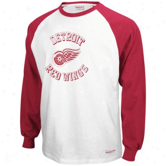 Detroit Red Wings Tshirt : Mitchell & Ness Detroit Red Wings Red-white Neutral Zone Long Sleeve Raglan Thirt