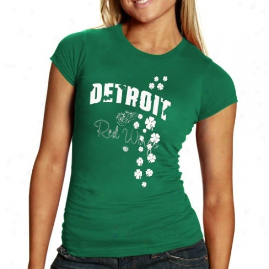 Detroit Red Wings Tshirt : Old Time Hockey Detroit Red Wings Ladies Kelly Green Tory Tshirt