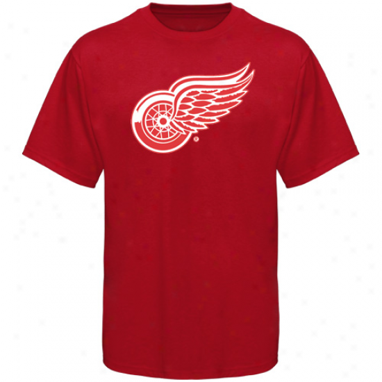 Detroit Red Wings Tshirt : Old Time Hockey Dtroit Red Wings Red Big Logo Tshirt