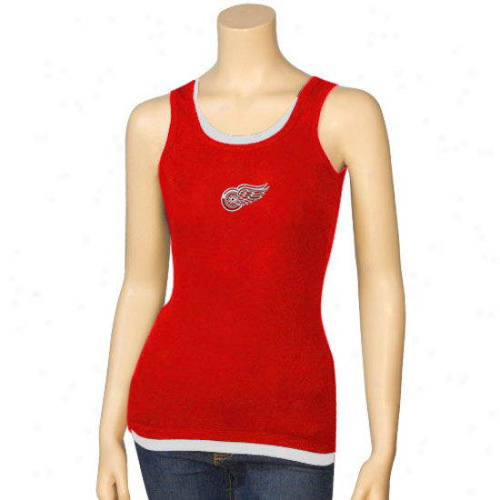 Detroit Red Wings Tshirts : Detroit Red Wings Ladies Red Harmony Layered Tank Top