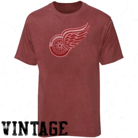 Detroit Red Wings Tshirts : Majestic Detroit Red Wings Heathr Red Big Time Play Vintage Tshirts