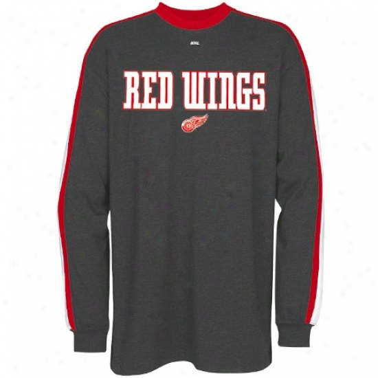 Detroit Red Wings Tshirts : Majestic Detroit Red Wings Charcoal Vivtory Pride Long Sleeve Tshirts