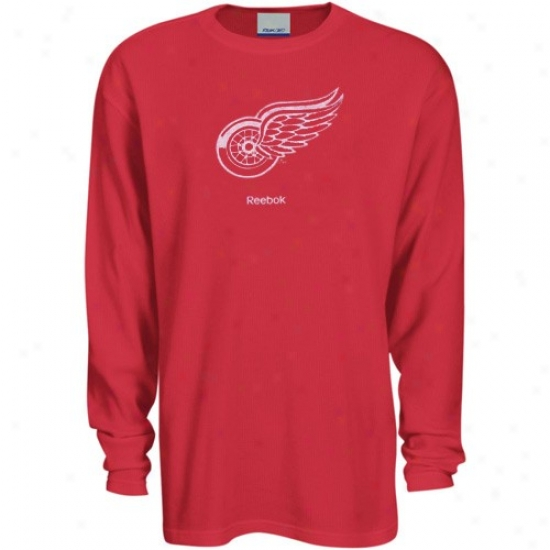 Detroit Red Wings Tshirts : Reebok Detroit Red Wings Red Faded Logo Extended Sleeve Thermal Tshirts