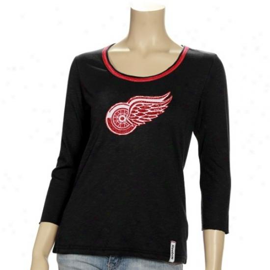 Detroit Red Wings Tshirts : Reebok Detroit Red Wings Ladies Black Ramp Up Rhinestone 3/4 Sleeve Premium Tshirts