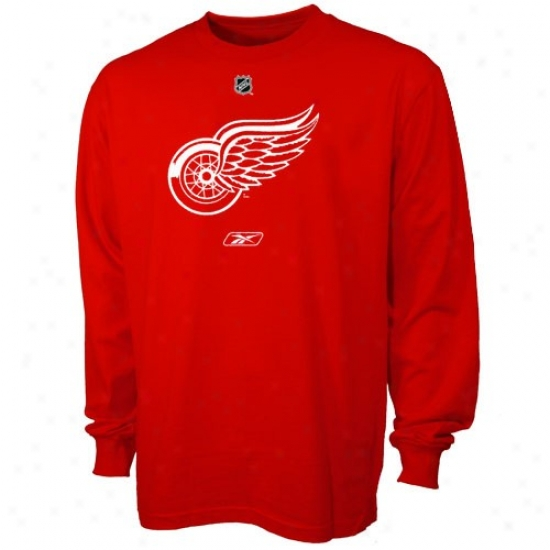 Detroit Red Wings Tehrts : Reebok Detroit Red Wings Red Ptimary Logo Long Sleeve Tshirts