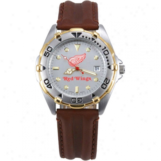 Detroit Red Wings Watch : Detroit Red Wings Men's All-star Watch With Brown Leather Band