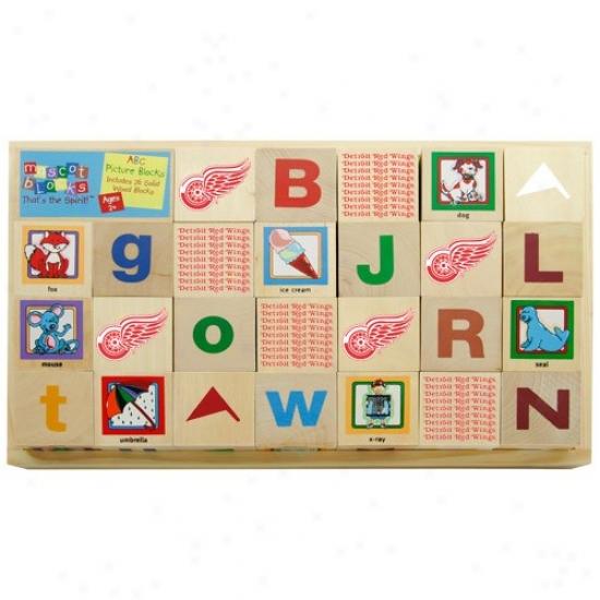 Detroit Red Wings Wooden Mascot Alphabet Blocks