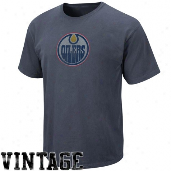 Edmonton Oiler Apparel: Majestic Edmmonton Oiler Navy Blue Cooperstown Big Time Play Vintage T-shirt