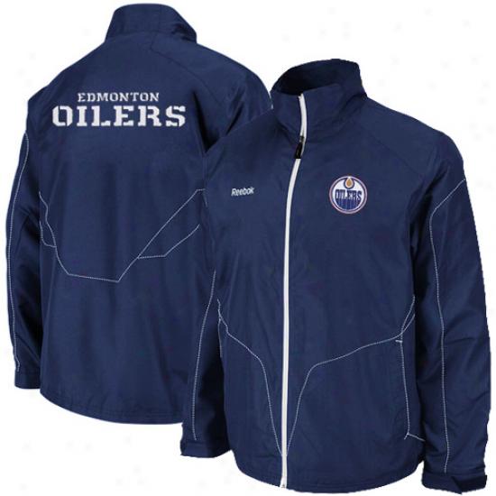 Edmonton Oiler Jacoet : Reebok Edmonton Oiler Navy Blue Center Ice Full Zip Jacket