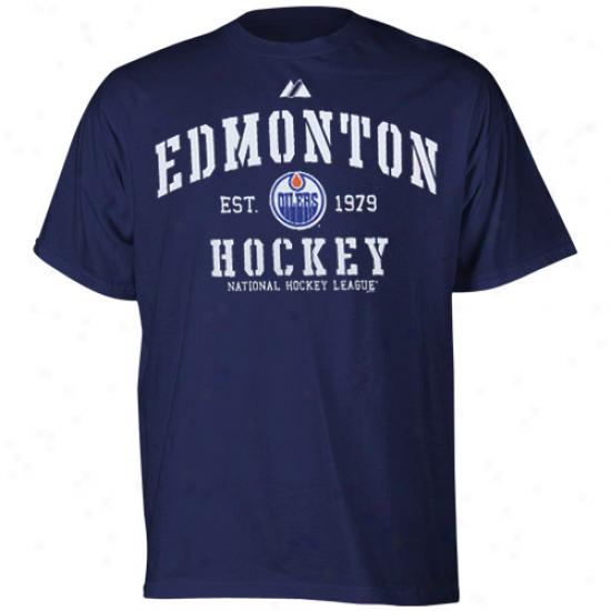 Edmonton Oiler Shirt : Majesgic Edmonton Oller Ships Blue Ice Classic Shirt