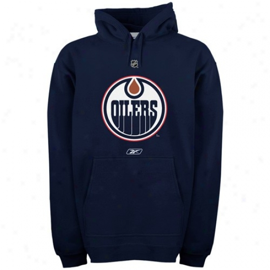 Edmonton Oiler Sweatshjrts : Reebok Edmonton Oiler Navy Blue Primary Logo Sweatshirts