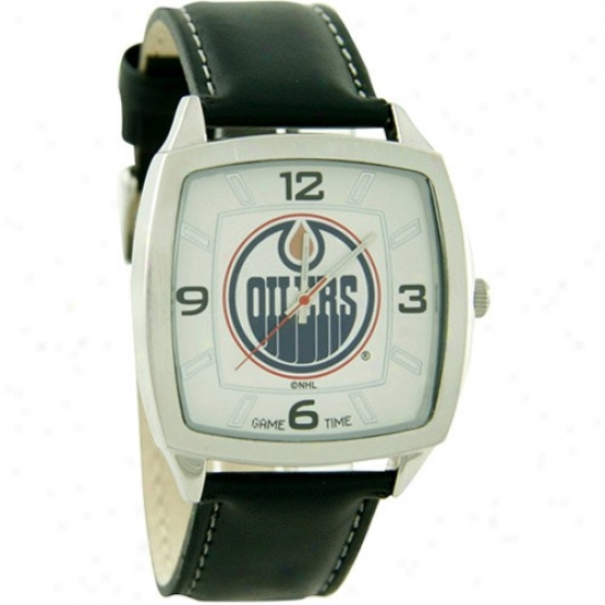 Edmonton Oiiler Watch : Edmonton Oiler Retro Watch W/ Leather Band