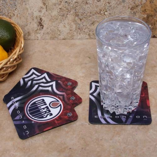 Edmonton Oilers 4-pack Sublimated Logo Neoprene Coaster Set