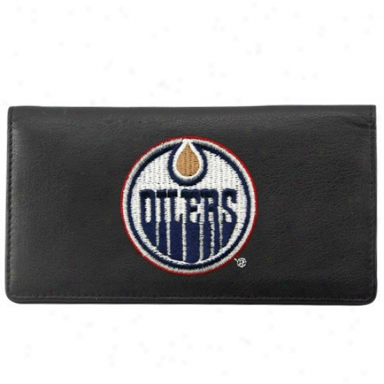 Edmonton Oilers Black Leather Embroidered Chekbook Cover