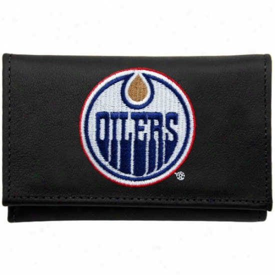 Edmonton Oilers Black Leather Embroidered Tri-fold Wallet