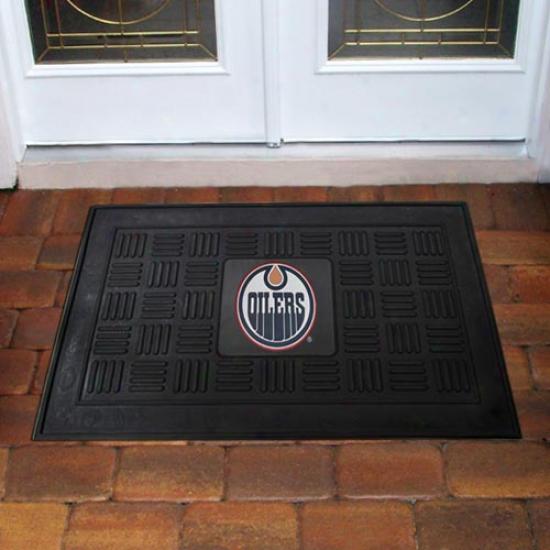 Edmonton Oilers Black Team Logo Rubber Mat