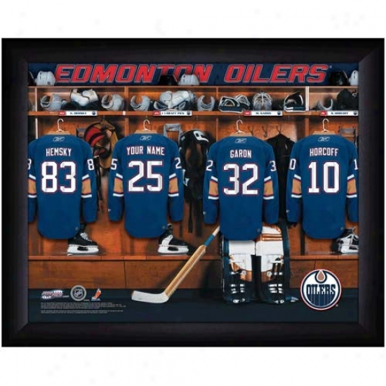 Edmonton Oilers Customized Locker Room Black Framed Photo