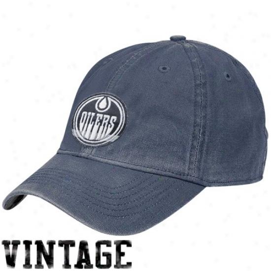 Edmonton Oilers Gear: Reebok Edmonton Oilers Ships of war Blue Distressed Logo Vintage Slouch Cardinal's office