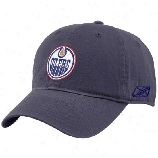 Edmonton Oilers Hats : Reebok Edmonton Oilers Navy Blue Unstructured Slouch Hats