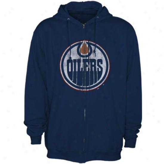 Edmonton Oilers Hoodys : Majestic Edmonton Oilers Navy Blue Distressed Logo Fulk Zip Hoodys