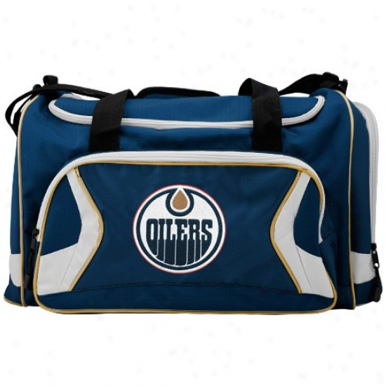 Edmonton Oilers Navy Blue Team Logo Duffle Bag