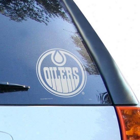 Edmonton Oilers White 8'' X 8'' Logo Decal