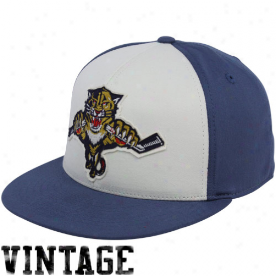 Florida Panther Hat : Reebok Florida Panther Navy Blue-white Flat Bill Retro Sport 210 Fitted Hat