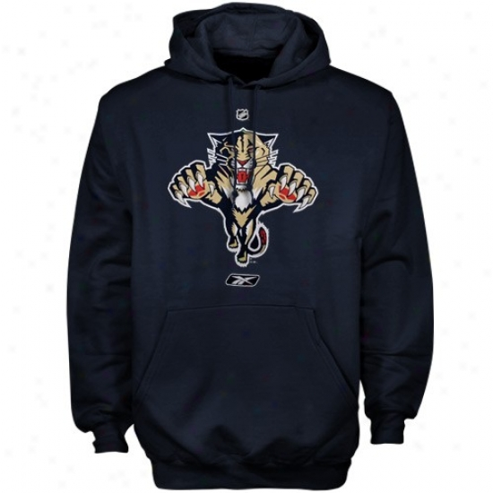 Florida Panther Hoodies : Reebok Florrida Panther Navy Blue Primary Logo Hoodies