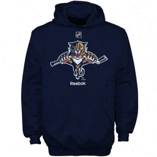 Florida Panther Hoodys : Reebok Florida Panther Navy Blue Youth Primary Logo Hoodys