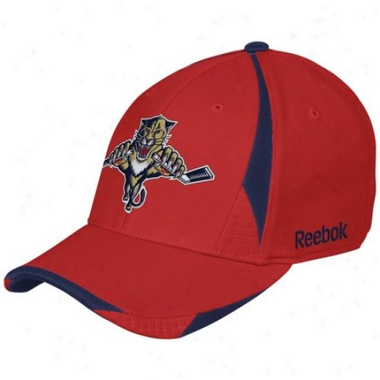 Florida Panrher Merchandise: Reebok Florida Panther Red Player 2nd Season Flex Fit Hat