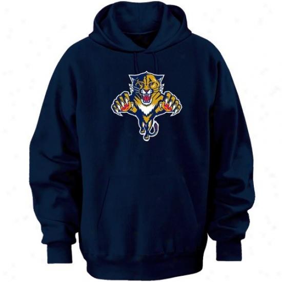 Florida Panther Sweatshirt : Majestic Florida Panther Navy Blue Felt Tek Patch Sweatshirt