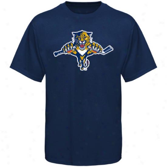 Florida Panther Tees : Old Time Hockey Florida Panther Navy Blue Big Logo Tes