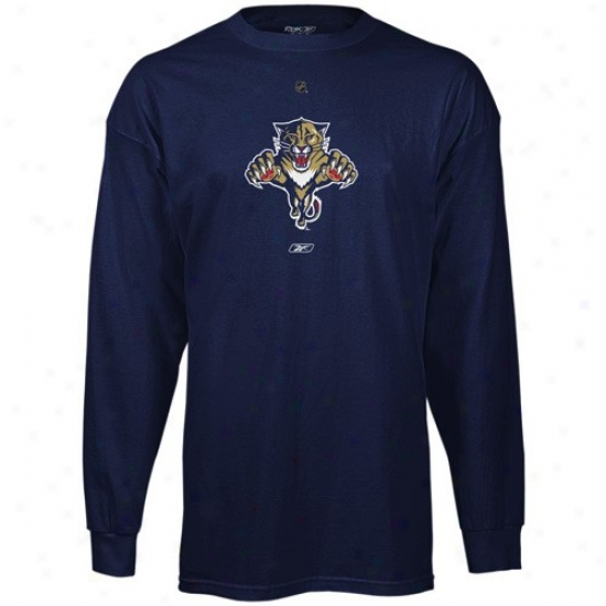 Florida Panther Tshirt : Reebok Florida Panther Navy Blue Chief Logo Long Sleeve Tshitt