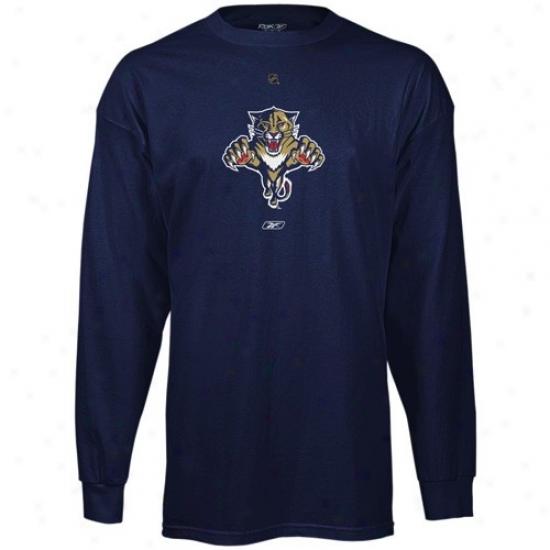 Florida Panther Tshirt : Reebok Florida Panther Navy Blue Chief Logo Long Sleeve Tshitt