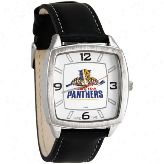 Florida Panthr Watch : Florida Panther Retro Watch W/ Leather Band