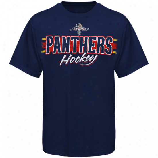 Florida Panthers Attire: Reebok Florida Panthers Navy Blue Allegiance T-shirt