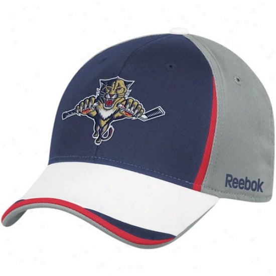 Florida Panthers Hats : Reebok Florida Panthers Gray-navy Blue Nhl 2010 Draft Day Flex Fit Hats