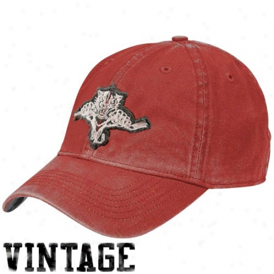 Florida Panthesr Hats : Reebok Florida Panthers Red Distressed Logo Vintage Slouch Hats